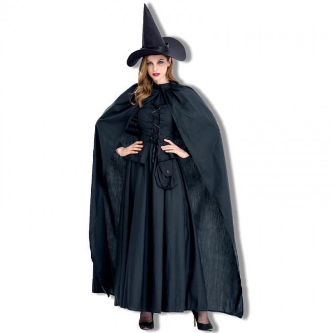 Halloween Costume New Black Witch demone con Mantello Vampire Dress Cosplay